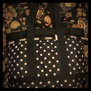 LeSportsac Medium Tote Bag Black and Cream Polka